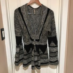Free people grey and black cardigan